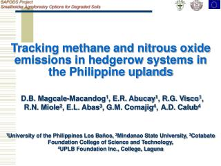 Tracking methane and nitrous oxide emissions in hedgerow systems in the Philippine uplands