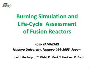 Burning Simulation and  Life-Cycle  Assessment  of Fusion Reactors