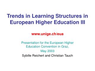 Trends in Learning Structures in European Higher Education III unige.ch/eua