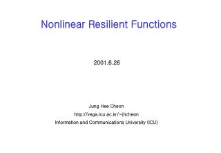 Nonlinear Resilient Functions