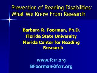 Prevention of Reading Disabilities: What We Know From Research