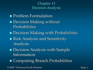 Chapter 13 Decision Analysis