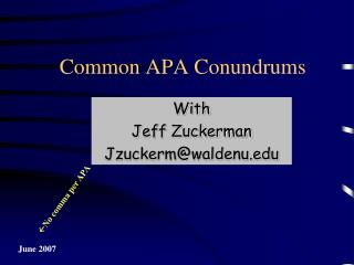 Common APA Conundrums