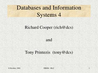 Databases and Information Systems 4