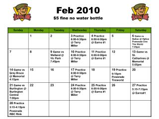 Feb 2010 $5 fine no water bottle