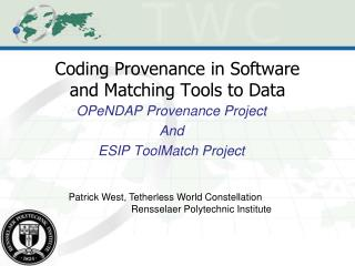 Coding Provenance in Software and Matching Tools to Data