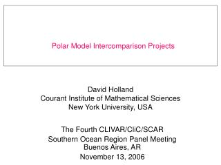 David Holland Courant Institute of Mathematical Sciences New York University, USA