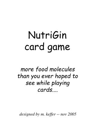 NutriGin  card game