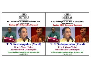MIT's Heritage of the Arts of South Asia mithas Spring  2013  Carnatic  Concert