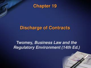 Chapter 19 Discharge of Contracts