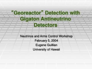 """ Georeactor ""  Detection with Gigaton Antineutrino Detectors"