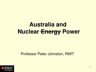 Australia and  Nuclear Energy Power