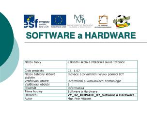 SOFTWARE a HARDWARE