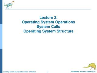 Lecture 2:  Operating System Operations System Calls Operating System Structure