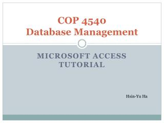COP 4540 Database Management