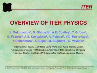 OVERVIEW OF ITER PHYSICS