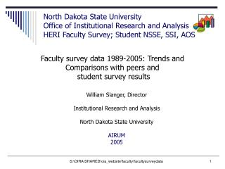 Faculty survey data 1989-2005: Trends and  Comparisons with peers and  student survey results