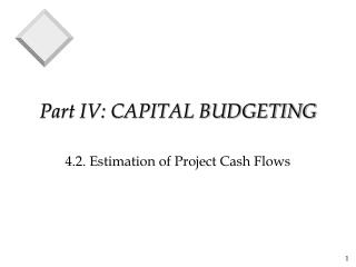 Part IV: CAPITAL BUDGETING