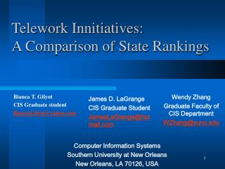 Telework Innitiatives:  A Comparison of State Rankings