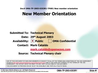 Doc OMA-TP-2003-0353R1-TP6R1 New member orientation   New Member Orientation