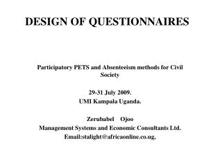 DESIGN OF QUESTIONNAIRES