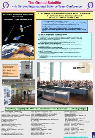 4'th Oersted International Science Team Conference