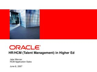 HR/HCM (Talent Management) in Higher Ed