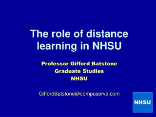 The role of distance learning in NHSU