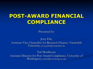 POST-AWARD FINANCIAL COMPLIANCE