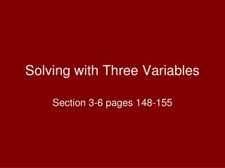 Solving with Three Variables