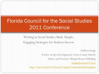 Florida Council for the Social Studies 2011 Conference