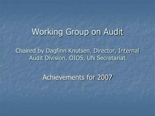 Achievements for 2007