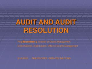 AUDIT AND AUDIT RESOLUTION