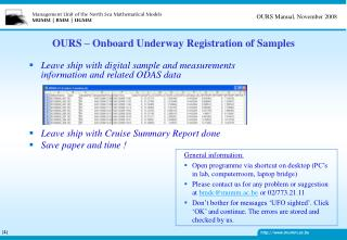 OURS – Onboard Underway Registration of Samples