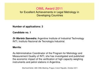 OIML Award 2011 for Excellent Achievements in Legal Metrology in   Developing Countries