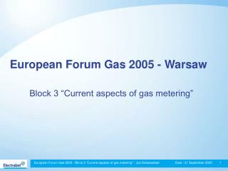 European Forum Gas 2005 - Warsaw