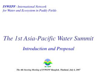 The 1st Asia-Pacific Water Summit