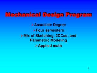 Mechanical Design Program