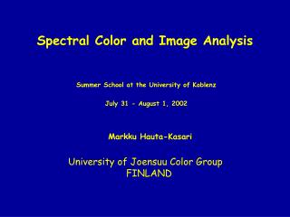 Spectral Color and Image Analysis