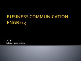 BUSINESS COMMUNICATION ENGB213