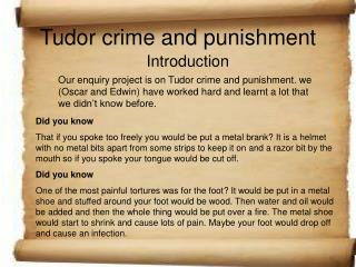 Tudor crime and punishment