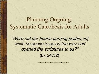 Planning Ongoing, Systematic Catechesis for Adults
