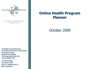 Online Health Program Planner October 2009