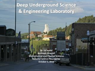 Deep Underground Science  & Engineering Laboratory Dr. Ed Seidel Assistant Director