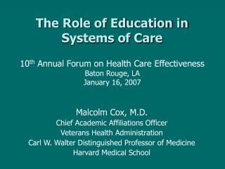 The Role of Education in Systems of Care
