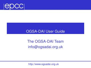 OGSA-DAI User Guide