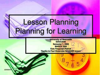 Lesson Planning  Planning for Learning