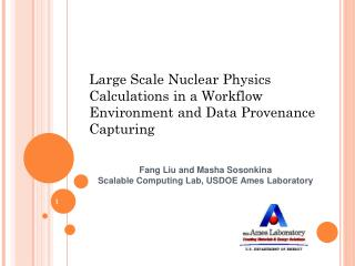 Large Scale Nuclear Physics  Calculations in a Workflow Environment and Data Provenance Capturing