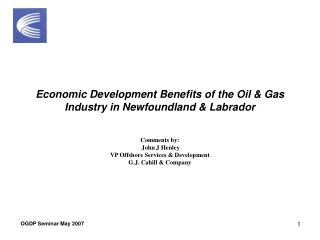 Economic Development Benefits of the Oil & Gas Industry in Newfoundland & Labrador