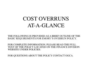 COST OVERRUNS AT-A-GLANCE